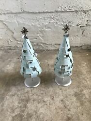 """Extremely Rare 2007 Starbucks Powder Blue 19"""" Tall Trees Store Display Set Of 2"""