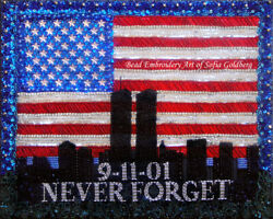 Beadwork Bead Embroidery Painting Art Nyc Never Forget 9.11.01 By Sofia Goldberg