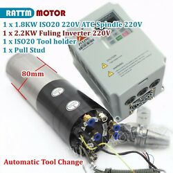 1.8kw Iso20 220v Atc Water Cooled Spindle Motor Automatic Tool Change+2.2kw Vfd