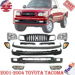 Front Bumper Primed Kit + Grille + Head Lights For 2001-2004 Toyota Tacoma 2wd
