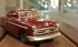 Used Japanese Vintage Tin Toy Red 1950s Marusan Kosuge Ford Sedan Made In Japan