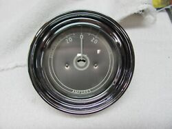 Stewart Warner Mahogany Boat 3.5 Inch Silver Face Amp Meter Curved Glass 1946