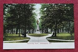 C1901 Schuyler Colfax Statue University Park Downtown Indianapolis In Postcard