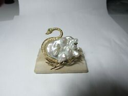 18k Solid Yellow Gold Swan Brooch / Pin - Huge Blister Pearl And Diamonds