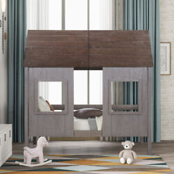 Twin Size Low Loft Wood House Bed With Two Front Windows For Kids Teens Girls