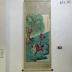 China Xu Beihong Hand Painted Four Horses Of Weeping Willow Picture Scroll