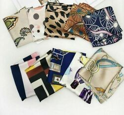 Hair Tie Bands For Business Party Head Neck Rings Satin Silk Square Scarf Prints