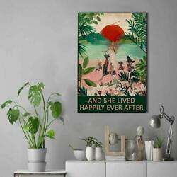 And She Lived Happily Ever After Canvas Beach Canvas Bike Lover Beach Lover $13.99