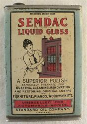 Vintage Semdac Liquid Gloss For Automobile Car Bodies, Standard Oil Co. Tin Can