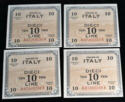 1943-a Italy 10 Lire 4 Consecutive Bank Notes - Cat 55 Each M13b - Unc