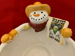 Humor 6x9 Snowman Cowboy With Sign Wanted Candy Bandit Figurine Candy Dish