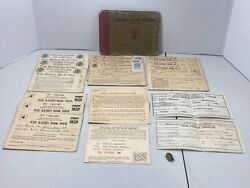 Vintage Wwii Holder W/ 12 Partial Ration Books And Sugar Purchase Certificates