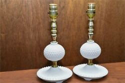 Antique Vtg Eapg Fenton Hobnail Milk Glass Lamps - A Pair In Working Condition