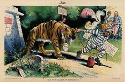 Tammany Tiger Democratic Party Taken From Illinois Jail Uncle Sam Bicyclist