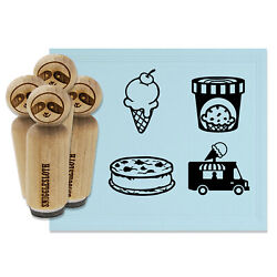 Ice Cream Truck Desserts Pint Cookie Sandwich Cone Rubber Stamp Set For Stamping