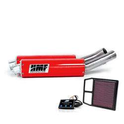 Hmf Can-am Commander 1000 2011 - 2013 Red Dual 3/4 Exhaust Center Mount Efi Kandn