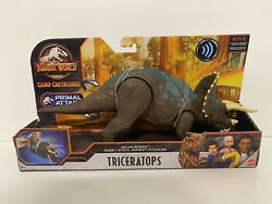 Jurassic World Camp Cretaceous Primal Attack Triceratops Sound Strike Toy New