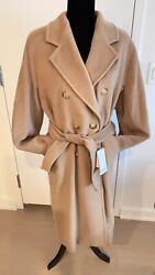 Maxmara 101801 💕icon Double Breasted Wool And Cashmere-blend Coat Sizeus6