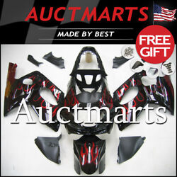 For Yamaha Yzf600r 1998-2004 Fairing Bodywork Abs Red Black Flames 4n13 Ps