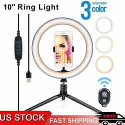 10 Led Ring Light With Tripod Stand And Phone Holder Dimmable Remote Kit Stream