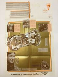 Vintage Motorcycle Poster Parts List 22 X 34 11-50 Motorcycle Domi Racer