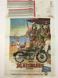 Vintage Motorcycle Poster Parts List 22 X 34 1953 Matchless Clubman Domi Racer