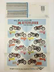 Vintage Motorcycle Poster Parts List 22 X 34 1961 Season Matchless Domi Racer