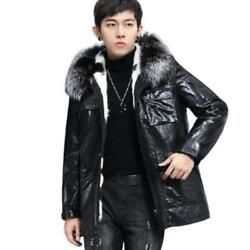 Men Real Sheep Leather Silver Fox Fur Collar Lined Parka Hooded Coats Business L