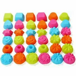 36 Pcs Silicone Doughnuts Mold Baking Cup Cake Tool Set Muffin Chocolate Liner