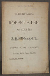 Cameron Life And Character Of Robert E Lee 1901 A P Hill Camp Petersburg Virginia