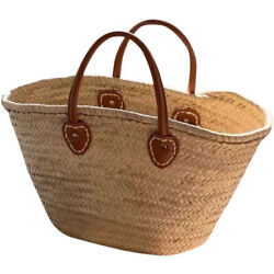 Moroccan Handmade Straw Bags Market Shopping Basket Leather Handles Eco Friendly $72.95