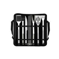 12pcs Stainless Steel Bbq Grilling Tools Set Barbecue Utensil In Carrying Bag