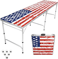 8 Foot Portable Beer Pong / Tailgate Tables Black, Football, American Flag, Or