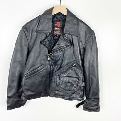 Vintage R.b.c Womens Bomber Leather Jacket Black Sport Motorcycle Size Small/f