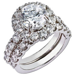 Natural Diamond Round Cut 1.60 Ct 18k White Gold Wedding Ring Set Size 5 6 7 8 9