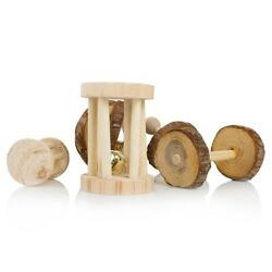 10pcs Cute Natural Wooden Pine Dumbells Unicycle Bell Roller Chew Toys For A1t3