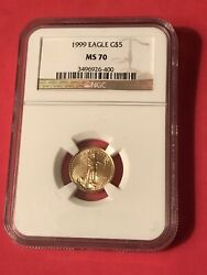 Rare1999 G 5 Us Gold Eagle Coin 1/10 Oz Ms70 Ngc Excellent Low Price