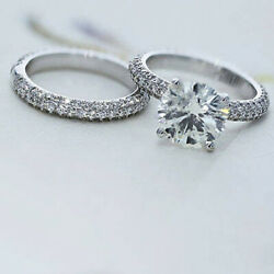 Certified 1.44 Ct Real Diamond 18k White Gold Engagement Ring Set Size 5 6 7 8 9