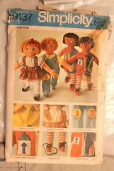 Simplicity 9137 Learning Rag Doll Pattern + 2 Doll Bodies And Clothes Fabric Cut