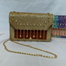 Golden Crossbody for Teens with glitter adjustable strap and Occasional wear $25.50