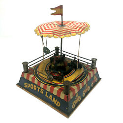 Ck Sports Land Wind-up Carnival Ride Antique 1920s Tin Litho