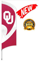 New🔥 Oklahoma Sooners 11 Foot Tall Flag W/pole 🔥 Heavy Duty, Weather Resistant