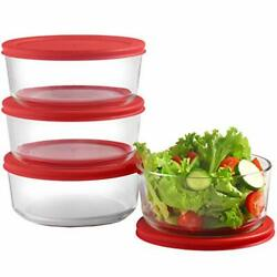 Glass Food Storage Containers Redairtight Lids 30oz 4cup Each Small Round Mixin