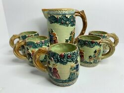 6 Piece Majolica Beer Stein Pitcher And Mugs, Made In Japan