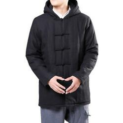 New Chinese Style Menand039s Coat Cotton Thicken Hooded Single Breasted Tang Jacket L