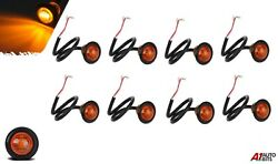 8x 3 Led 24v Round Side Marker Lights Amber Yellow Small Button Bullet Lamps Uk