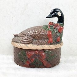 Vtg Loomco Pottery Canadian Goose On Christmas Basket Trinket Box Candy Dish