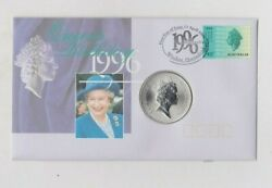 1996c Australia Silver One Ounce Kangaroo 1 Queen's Birthday Stamp Cover Set.
