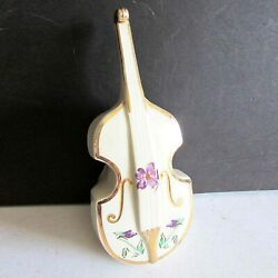 Vtg Moyer Cello / Guitar Wall Pocket Hand Painted Violets Edged 22k Gold Free Sh