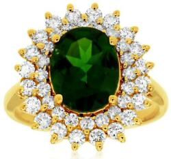 Large 3.45ct Diamond And Aaa Green Garnet 14kt Yellow Gold Flower Engagement Ring